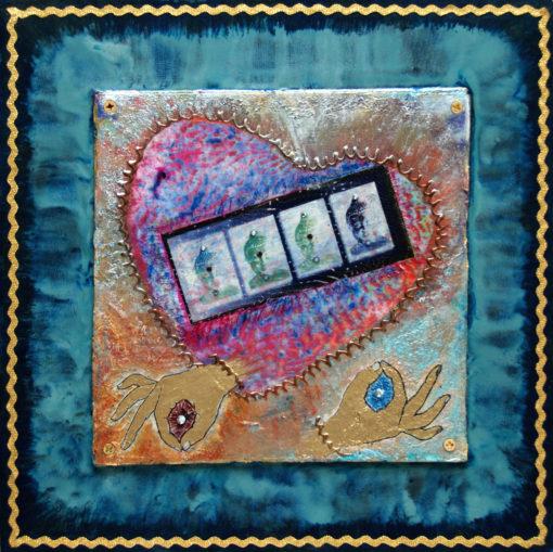 Heart Passages: 3 Meditative-Heart, art under $333 at DebbieMathewArt.com